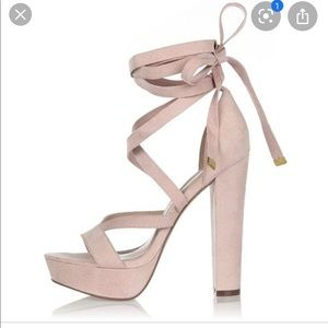 Call It Spring Pink Lace Up Heels